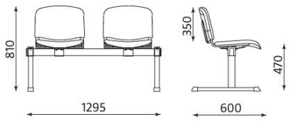 Размери посетителска пейка Iso 2