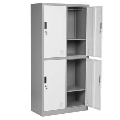 метален шкаф с 4 врати сиво с тъмно сиво