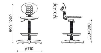 висок работен стол negro ring base