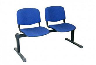 Посетителска офис пейка ISO 2 дамаска синьо