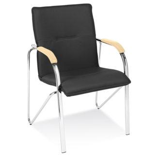 Посетителски стол Samba Chrome черна еко кожа