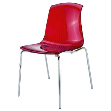 трапезен стол Алегра червен прозрачен