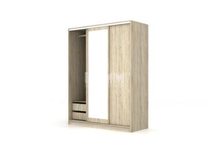 трикрилен гардероб с плъзгащи се врати с огледало Сити 1006 сонома