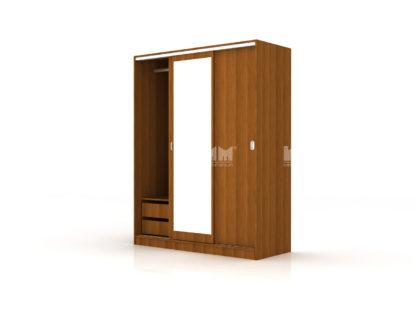 трикрилен гардероб с плъзгащи се врати с огледало Сити 1006 орех