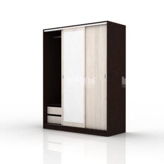 трикрилен гардероб с плъзгащи се врати с огледало Сити 1006 венге и астра