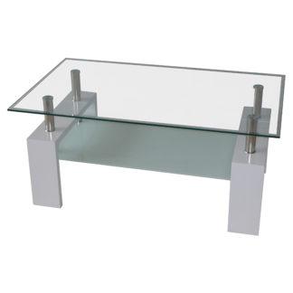 Холна маса MDF D-180 100/60/43h бяла с бяло долно стъкло