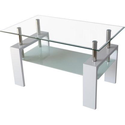 Холна маса MDF D-180 100/60/60h бяла с бяло долно стъкло
