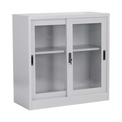 метален шкаф витрина с две плъзгащи се врати със стъкло cr-1264-j-1