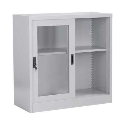 метален шкаф витрина с две плъзгащи се врати със стъкло cr-1264-j-2
