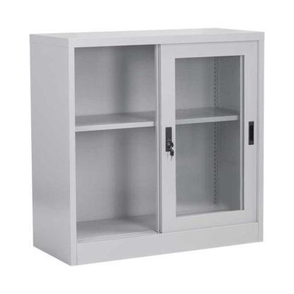 метален шкаф витрина с две плъзгащи се врати със стъкло cr-1264-j-3