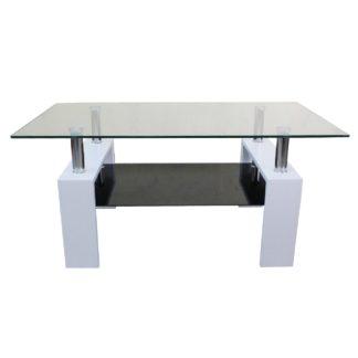 Холна маса 605 130/70/60h - бяла с черно долно стъкло
