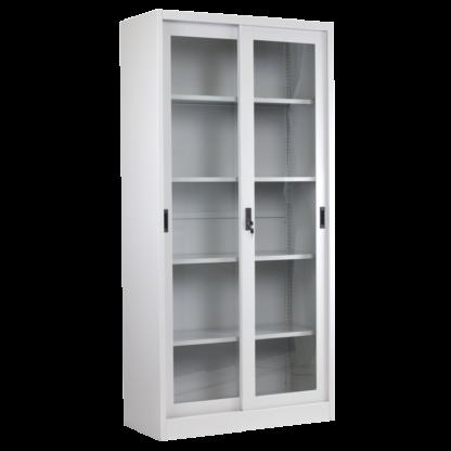 метален шкаф витрина с плъзгащи се врати със стъкло CR-1267-J