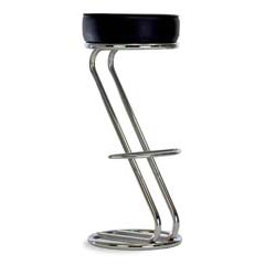 Бар стол Zeta черна еко кожа и хром