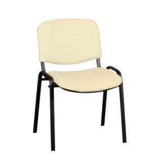 посетителски стол Iso Black бежова еко кожа