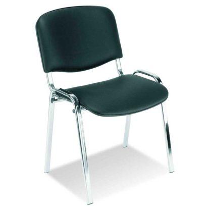 Посетителски стол Iso Chrome черна еко кожа