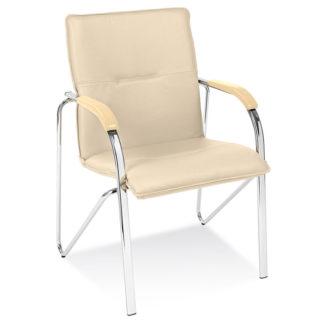 Посетителски стол Samba Chrome бежова еко кожа V-18