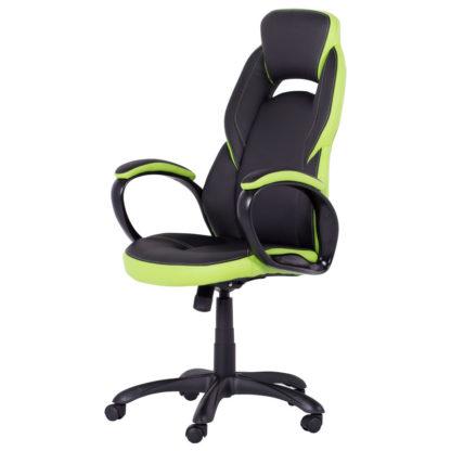 геймърски стол 7511 черно зелен офис стол