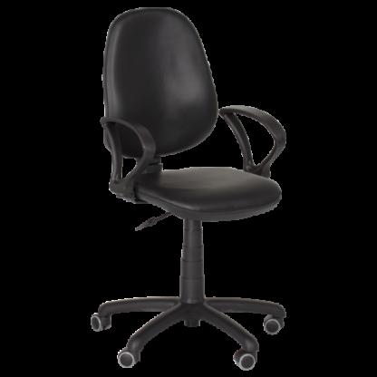 Работен стол Polo с подлакътници -черна еко кожа