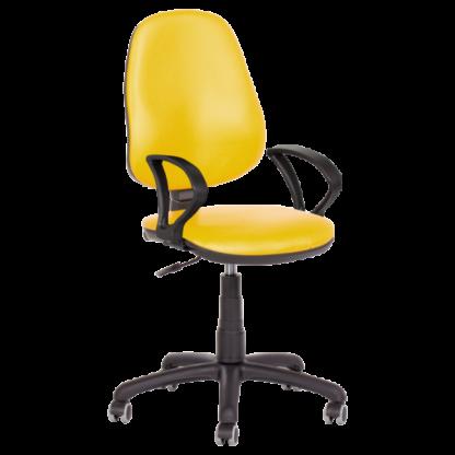Работен стол Polo с подлакътници - еко кожа жълт
