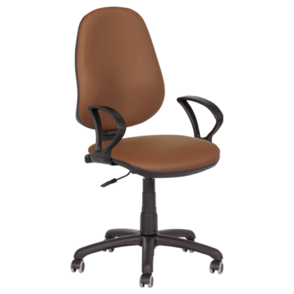 Работен стол Polo с подлакътници - еко кожа кафяв N