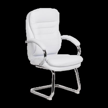 посетителски стол 6154 еко кожа бял