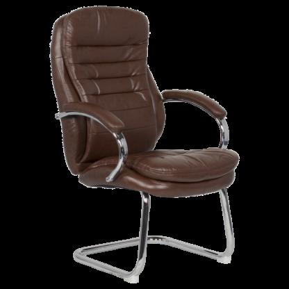 посетителски стол 6154 еко кожа искрящо кафяв