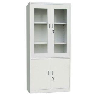 метален шкаф със стъклени врати горе
