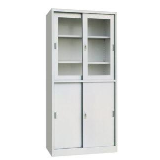 Метален шкаф с плъзгащи се стъклени врати горе