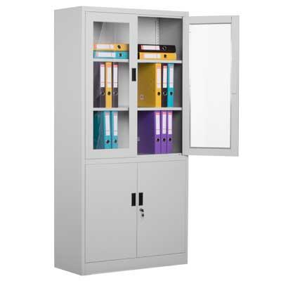 метален шкаф CR-1272 L с две метални и две стъклени врати