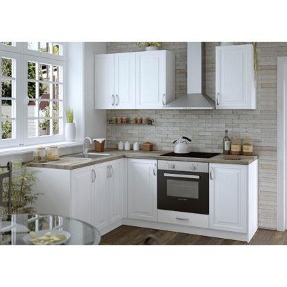 Модулна кухня Винтидж МДФ с вритички МДФ цвят сноу
