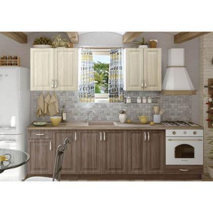 Модулна кухня Винтидж МДФ с вритички МДФ цвят крийм и мока