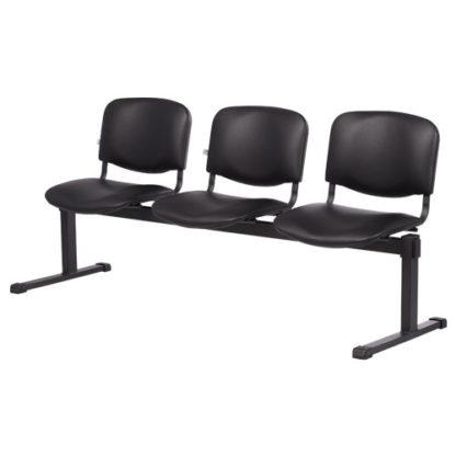 посетителска пейка с три седалки 1160-3 черна еко кожа