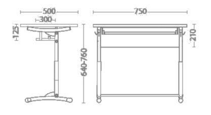 Размери Ученическо бюро E-172/1A