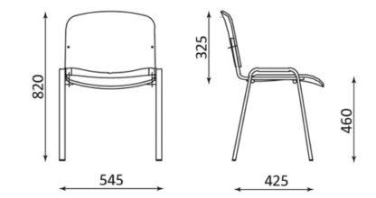 размери Посетителски стол Iso Wood